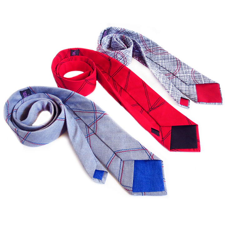 stitched, handmade neckties from Holland Cox in red, black, gray, and blue from Holland Cox