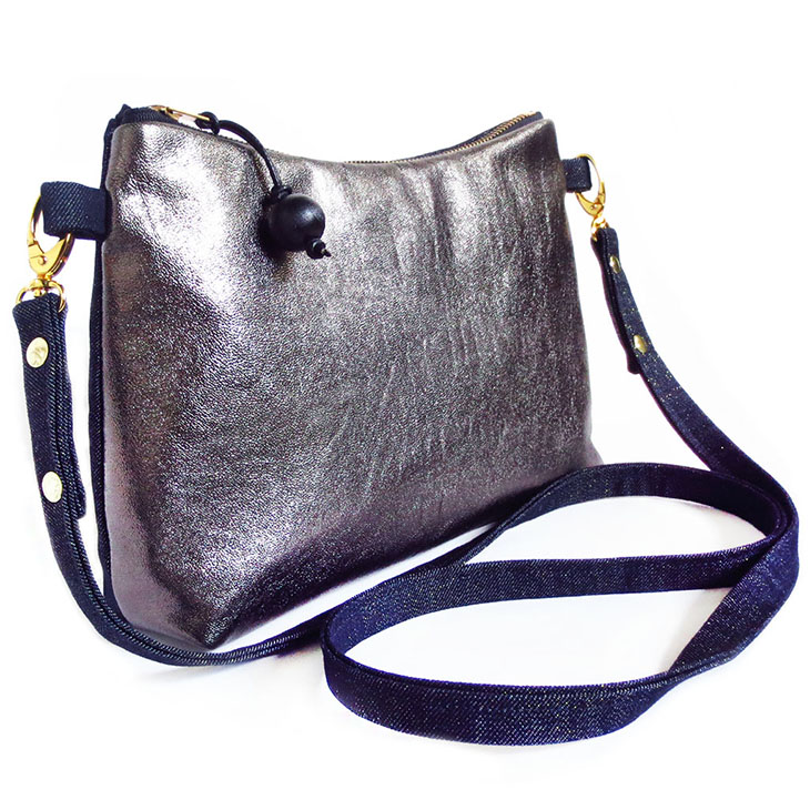 the sheba crossbody bag in pewter metallic leather