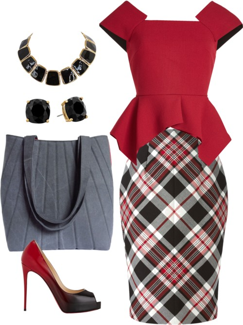 how to wear gray: with bright red