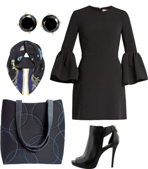 the sofia tote with a black bell sleeved dress