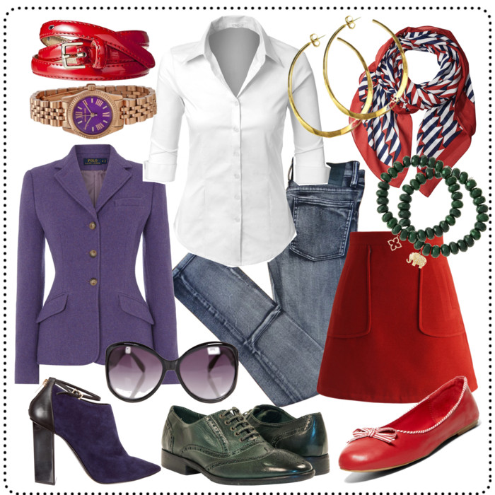 outfits featuring purple, green, and red instead of navy, brown, and black