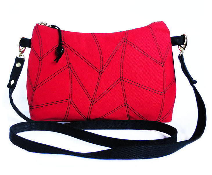 cassandra crossbody bag in red and black
