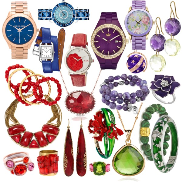 a collection of colorful jewelry and watches