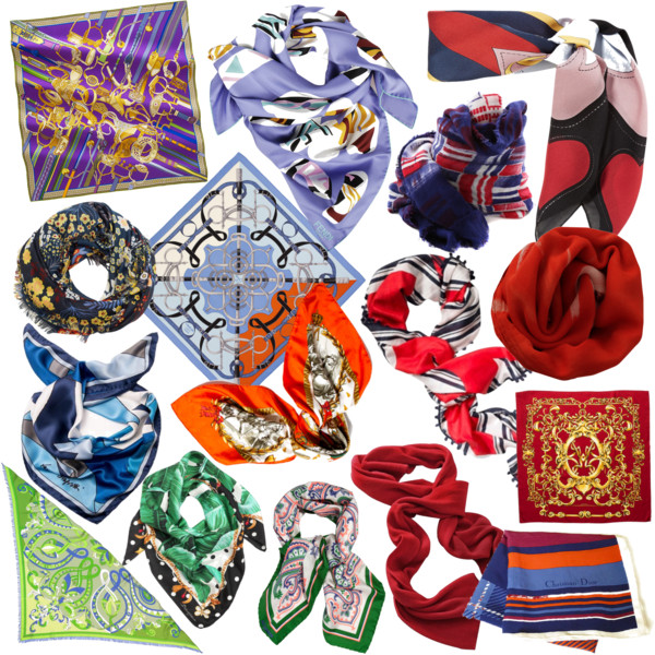 a collection of colorful silk scarves